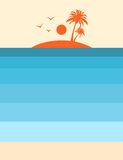 Tropical island vintage style summer poster Royalty Free Stock Photo