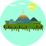 Tropical Island with Volcano Eruption Flat Design. Flat vector art of volcano erupting on a tropical island Stock Photography