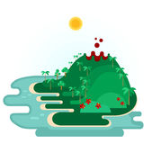 Tropical Island With Volcano. Illustration of abstract landscape with island like one from Hawaiian Islands. Exotic island in ocean, with beach, palm trees Stock Photography