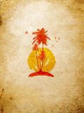 Tropical island on the wall Royalty Free Stock Photos