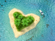 Tropical island with water and palms on a beach. In shape of heart Royalty Free Stock Photo