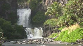 Tropical Island Waterfall stock footage