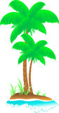 Tropical island with wave, sea, palm and grass. Isolated cartoon tropical island with wave, sea, palm and grass stock illustration