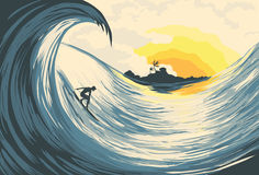 Tropical island wave and surfer vector illustration