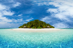 Tropical island with white sandy beach Royalty Free Stock Images