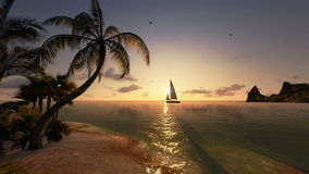 Tropical island and yacht sailing, timelapse sunrise, tilt stock video footage