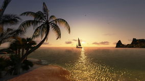 Tropical island and yacht sailing, timelapse sunrise. Tropical island and yacht sailing, time lapse sunrise stock video