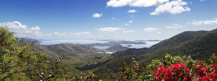 Tropical Islands. Hilltop view of the Virgin Islands from St John Stock Photography