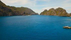 Tropical islands, aerial view. El Nido. Tropical islands, aerial view. Aerial view: sea and the tropical islands. Tropical bay in El Nido. Archipelago El Nido stock video footage