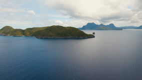 Tropical islands, aerial view. El Nido. Tropical islands, aerial view. Aerial view: sea and the tropical islands. Tropical bay in El Nido. Archipelago El Nido stock video