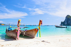 Tropical islands with boats Stock Image