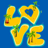 Tropical islands forming the word love Stock Image