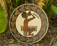 Tropical Islands handicraft shield from Polynesia. Royalty Free Stock Photography