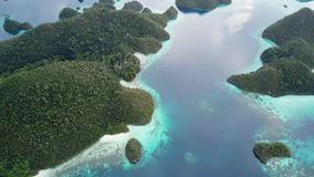 Tropical Islands and Lagoon in Wayag, Raja Ampat. The gorgeous limestone islands of Wayag, Raja Ampat, are surrounded by shallow coral reefs. This remote stock footage