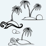 Tropical islands with palm trees Royalty Free Stock Images