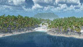 Tropical islands with palms. Computer generated 3D illustration with tropical islands and palms Stock Photos