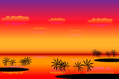 Tropical islands at sunset. Tropical islands with palms at sunset Stock Photography