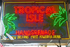 Tropical Isle neon sign in French Quarter of New Orleans, Louisiana stock images