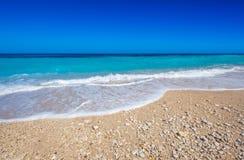 Tropical beach in ocean stock images