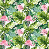 Tropical isolated seamless pattern with flamingo. Watercolor tropic drawing, rose bird and greenery palm tree, tropic. Green texture, exotic flower. Aloha stock illustration