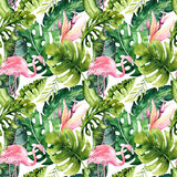 Tropical isolated seamless pattern with flamingo. Watercolor tropic drawing, rose bird and greenery palm tree, tropic Stock Photo