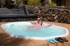 Tropical jacuzzi for couples Royalty Free Stock Photography