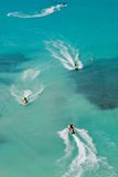 Tropical Jet Skis. Seadoos, jetskis, and watercraft on the blue caribbean ocean at a resort hotel in cancun mexico Stock Photos
