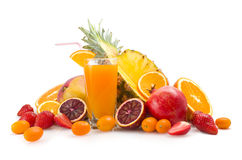 Tropical juice and fruits Royalty Free Stock Photos
