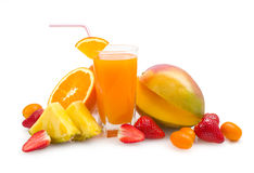 Tropical juice and fruits Stock Photography