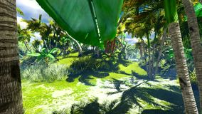 Tropical jungle animation stock footage