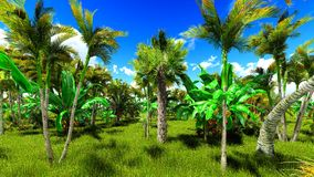 Tropical jungle 3d illustration Stock Images