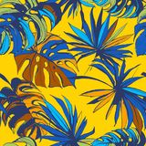 Tropical jungle floral seamless pattern background palm beach leaves. Vector illustration Tropical jungle floral seamless pattern background with palm beach royalty free illustration