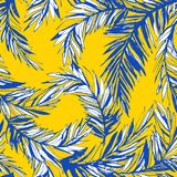 Tropical jungle floral seamless pattern background palm beach leaves. Royalty Free Stock Image