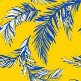 Tropical jungle floral seamless pattern background palm beach leaves. Stock Photos
