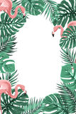 Tropical jungle leaves flamingos frame portrait. Exotic tropical jungle rain forest bright green palm tree and monstera leaves with pink flamingo birds border Stock Image
