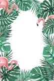 Tropical jungle leaves flamingos frame portrait Stock Image