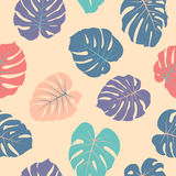 Tropical Jungle Leaves Vector Seamless Red And Blue Pattern. Phi Stock Photo