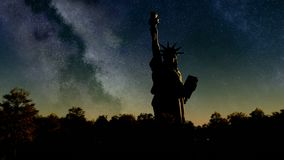 Tropical jungle Liberty statue at sunrise from night skywith palm tree silhouettes at sunset. Liberty statue at sunrise from  night sky stock video footage