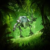 Tropical jungle mech robot royalty free stock images