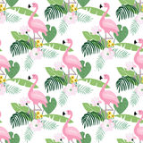 Tropical jungle seamless pattern with flamingo bird, palm leaves and magnolia or lotus flowers. Flat design, vector Royalty Free Stock Photos