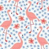Tropical jungle seamless pattern with hand drawn flamingo bird and hibiscus flowers. Summer fabric, floral flat design. Vector illustration background Royalty Free Stock Photography