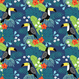 Tropical jungle seamless pattern with toucan bird, hibiscus flowers and palm leaves. Flat design, vector illustration. Tropical jungle seamless pattern with Royalty Free Stock Image