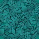 Tropical jungle trendy seamless pattern. With exotic palm leaves, leaf branches. Vector 3d spring or summer floral endless background. Seasonal poster in trendy Royalty Free Stock Photo