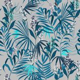 Tropical Jungle vector seamless pattern create from monotone blu. E exotic leaves and flowers on light grey  background Stock Image