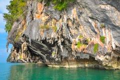 Tropical karstic island in Phang Nga Bay Royalty Free Stock Photo