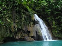 Tropical Kawasan Falls in the Philippines. stock image