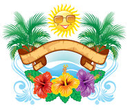 Tropical label. Beautiful  tropical label width hibiscus Royalty Free Stock Image