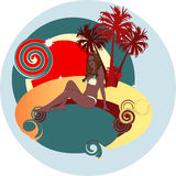 Tropical label with woman and palm trees Royalty Free Stock Photos