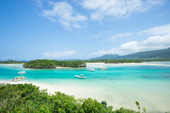 Tropical lagoon island paradise of Okinawa. Beautiful tropical lagoon with a white sand beach and crystal clear turquoise water at Kabira Bay, Ishigaki island stock images