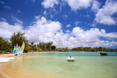 Tropical lagoon in Mauritius Island Royalty Free Stock Images